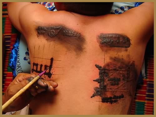 An traditional chinese back tattoo