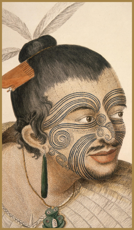 Illustration of traditional maori face tattoos